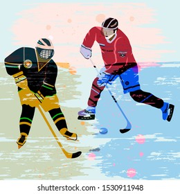Hockey sticks in a gamble - abstract background in grunge style - art, vector. Winter sport. Hockey.
