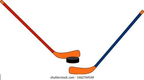 Hockey sticks. illustration. vector on white background.