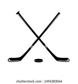 Hockey sticks and puck, Hockey Icon