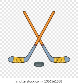 Hockey sticks and puck icon in cartoon style isolated on background for any web design