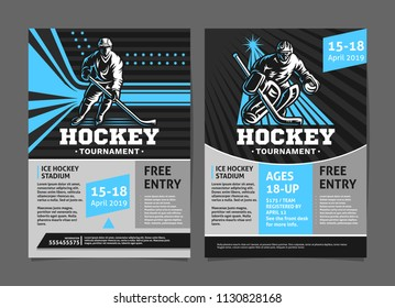 Hockey tournament posters, flyer with hockey player and goalie - template vector design