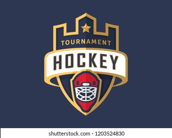 Hockey tournament sport logo template. Modern vector illustration. Badge design.