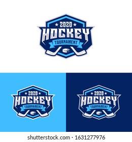 Hockey tournament sport logo template. Modern vector illustration. Badge design.