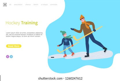 Hockey training, father and son child playing game vector. Winter sports, daddy with kid spending time outdoors, skating on ice rink, freezing weather flat style