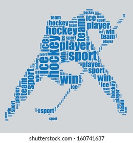 hockey typography 3d text word art hockey vector illustration word cloud
