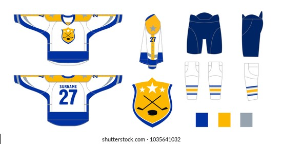 Hockey uniform - pattern cutting for sewing - Hockey sweater and hockey leg warmers, gaiters, hockey shorts and club emblem