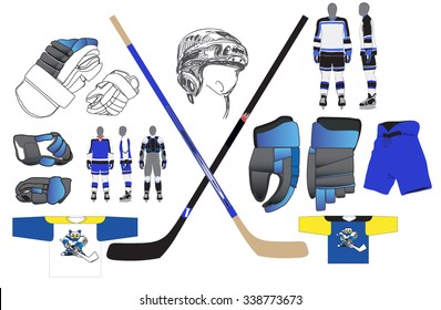 Hockey uniforms. Sports equipment. protective gear. Vector