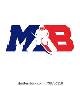 hockey vector logo. hockey player. letter M and B.