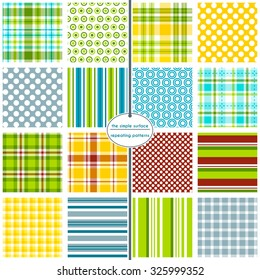 A hodgepodge of plaids, stripes and polka dots. File contains 16 repeating patterns for digital paper, scrapbooking, cards, invitations, announcements, borders, backgrounds, and textiles.