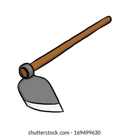 hoe or digging tool / cartoon vector and illustration, isolated on white background.