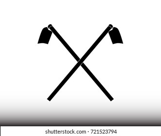 Hoe icon - Illustration, Soil preparation, Single Object, Steel, Garden Hoe, Agriculture tool
