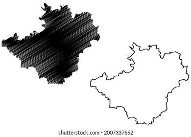 Hof city (Federal Republic of Germany, Urban district Upper Franconia, Free State of Bavaria) map vector illustration, scribble sketch Hof map