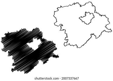 Hof district (Federal Republic of Germany, rural district Upper Franconia, Free State of Bavaria) map vector illustration, scribble sketch Hof map