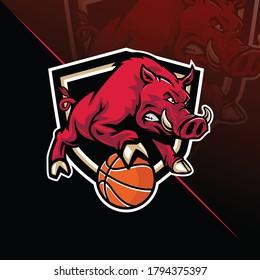 Hog with basket ball mascot designs logo
