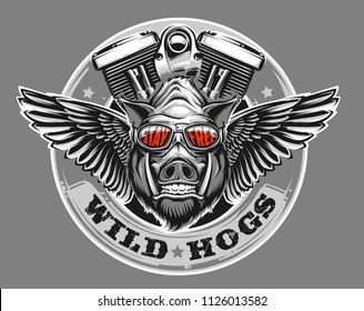 Hog with motorcycle engine and wings