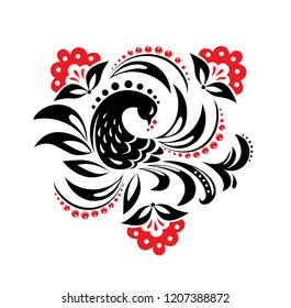 Hohloma in black and red colors. Russian traditional decoration design.