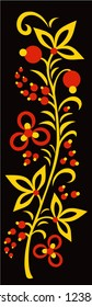 Hohloma decor elements vector collection. Classic Khokhloma painting, floral set in black, red and gold colors