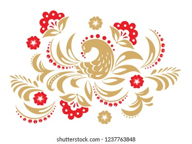 Hohloma in red and gold colors. Russian traditional decoration design.