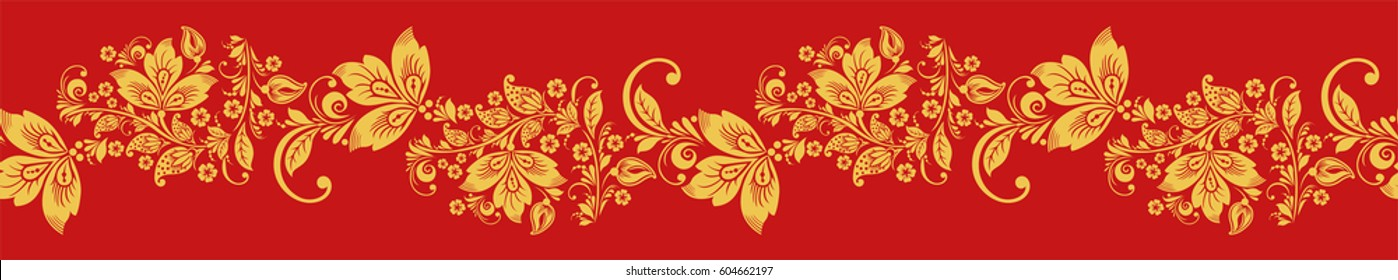 Hohloma seamless pattern, russian design vector. Khokhloma background decoration in red and gold colors.