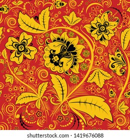 Hohloma seamless pattern, russian vector design. Khokhloma background decoration in red and gold colors
