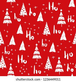Hohoho and christmas tree seamless pattern handdrawn