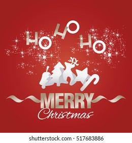 Ho-ho-ho Merry Christmas elements red vector