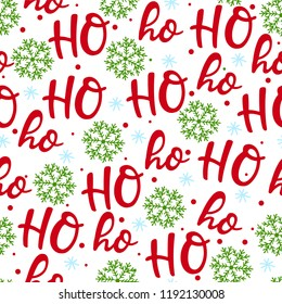 Hohoho pattern, Santa Claus laugh. Seamless texture for Christmas design. Vector white background red handwritten words ho.