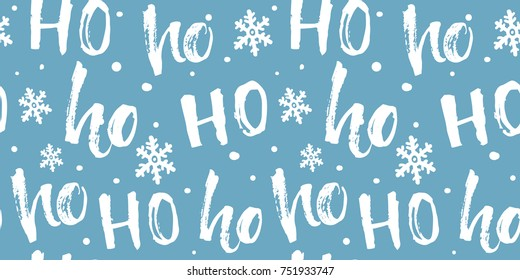 Hohoho seamless pattern for Christmas gifts wrapping, fabric and paper. Funny blue background with white text and snowflakes