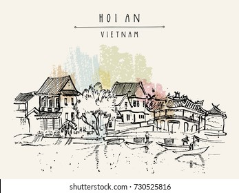 Hoi An, Vietnam. ancient seaside fishing village. Picturesque old town riverside. Historic bridge. Waterfront houses, river. Hand drawn travel poster, banner, postcard or calendar page idea. Vector