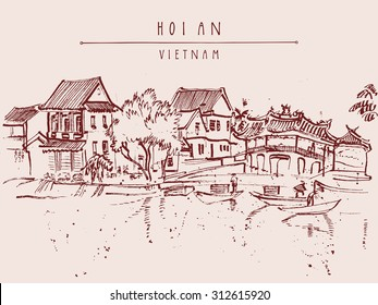 Hoi An, Vietnam, Southeast Asia. Old town riverside. Historic district. Waterfront houses, river. Vintage hand drawn vector travel poster, banner, postcard or calendar page template. Hand lettering