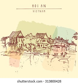 Hoi An - ancient seaside fishing village, Vietnam. Old town riverside. Historic district. Waterfront houses, river. Hand drawn vector travel poster, banner, postcard or calendar page template