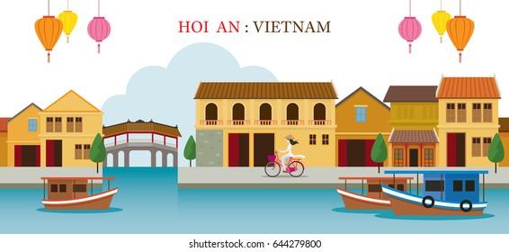 Hoi An Vietnam Landmarks Skyline, Cityscape, Travel and Tourist Attraction