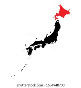 Hokkaido prefecture highlighted on Japan map Vector EPS 10
