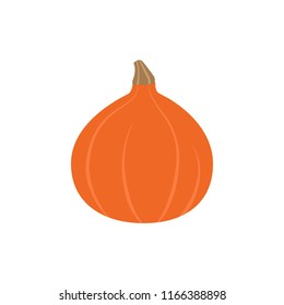Hokkaido pumpkin, red kuri squash vector illustration. Autumn seasonal orange pumpkin graphic icon, isolated.