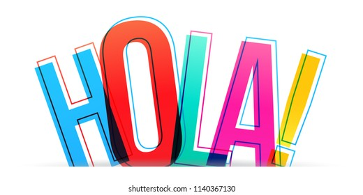 Hola colorful word vector design