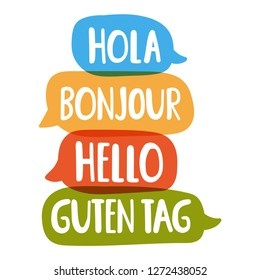 Hola, guten tag, bonjour, hello. Social network or bilingual translation concept. Vector hand drawn, lettering illustration on white background.