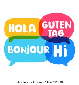 Hola, guten tag, bonjour, hi. Speech bubbles discuss, social network or bilingual translation concept. Vector business illustration on white background.