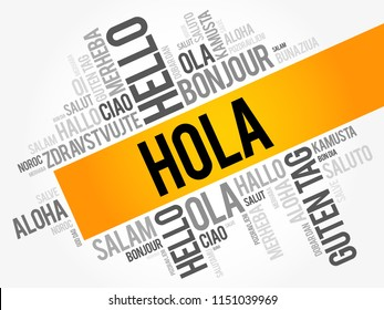 Hola images stock photos vectors shutterstock hola hello greeting in spanish word cloud in different languages of the world m4hsunfo
