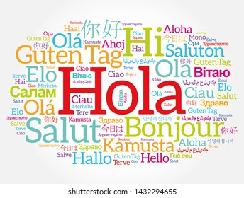 Hola (Hello Greeting in Spanish) word cloud in different languages of the world