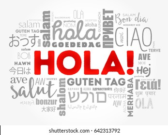Hola images stock photos vectors shutterstock hello greeting in spanish word cloud in different languages of the world m4hsunfo