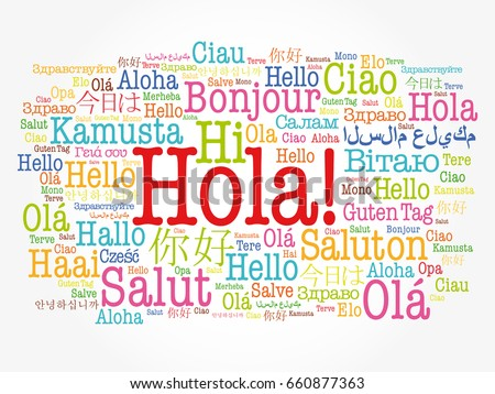 Hola hello greeting spanish word cloud stock vector royalty free hola hello greeting in spanish word cloud in different languages of the world m4hsunfo