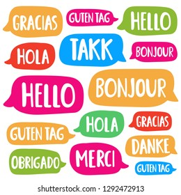 Hola, hello, guten tag, bonjour, gracias, obrigado, merci, danke. Translation, bilingual concept. Set of hand drawn vector icon illustrations on white background.