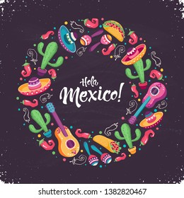 Hola Mexico (Hello Mexico) poster  in circle shape. Mexican culture attributes collection. Guitar, sombrero, maracas, cactus and jalapeno isolated on light background.