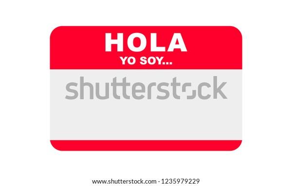 Hola Yo Soy Hello Spanish Sticker Stock Vector (Royalty Free
