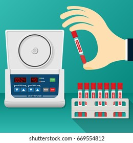 Hold Blood Vacutainer put into Electric Centrifuge