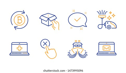 Hold box, Medical help and Approved line icons set. Refresh bitcoin, Vacuum cleaner and Reject click signs. Ship, E-mail symbols. Delivery parcel, Medicine laptop. Technology set. Vector