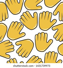 Hold hand emoji seamless pattern. Stop emoticon icon background. Hi gesture and sign.