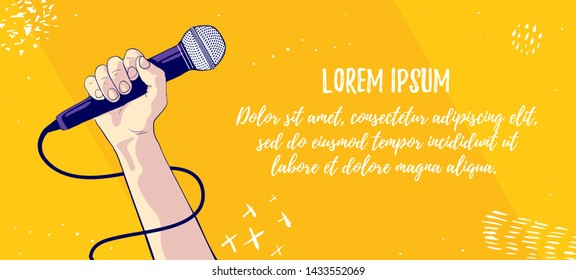 Hold microphone. Showman or singer symbol. Music and singing vector illustration. Banner design template