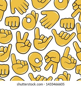 Hold, ok, rock, call me, pointing up and victory hand emoji seamless pattern. Chat emoticon icon background. Peace, okey, stop, metal gesture.