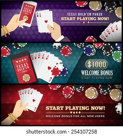 Hold'em poker banner set with smartphone, full scale, chips and male and female hands
